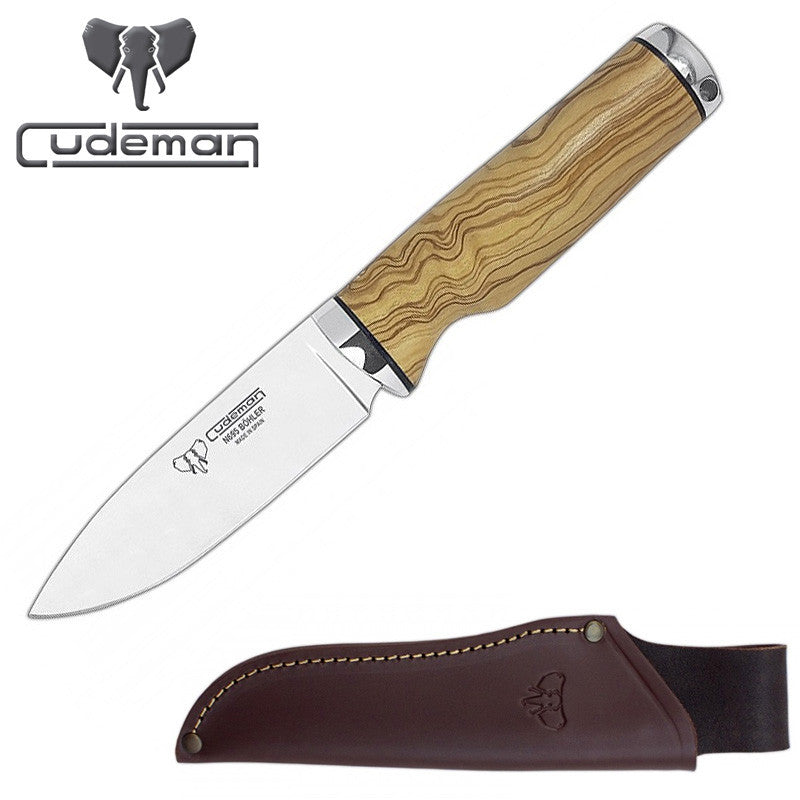 Cudeman 138-LP N695 Olive Wood Fixed Blade Knife with Leather Sheath