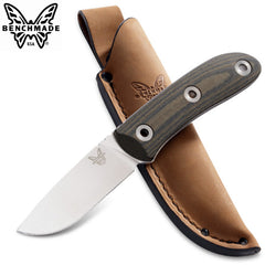 "Benchmade 15400 Pardue Hunter 3.48"" CPM-S30V Fixed Blade Knife with Micarta Handle and Leather Sheath"