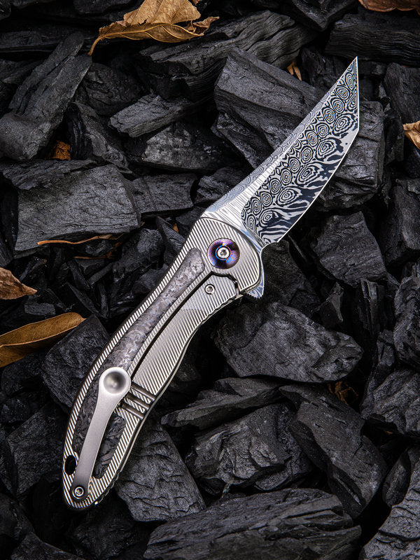 "WE Knife Synergy 2 Tanto 3.49"" Heimskringla Damasteel Titanium Shredded Carbon Fiber Folding Knife 912CF-DS2"