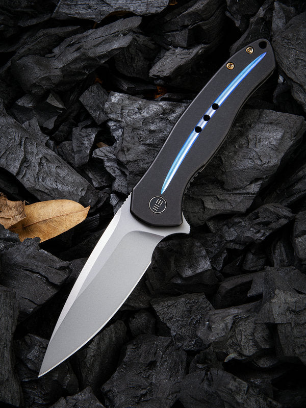 "WE Knife Kitefin 3.24"" CPM S35VN Black / Blue Groove Titanium Folding Knife 2001E"