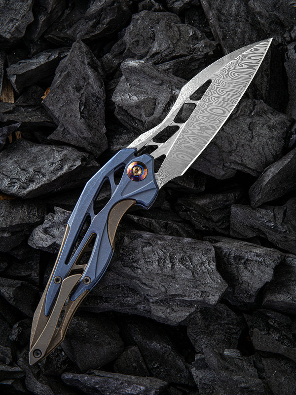 "WE Knife Elijah Isham Arrakis 3.45"" Heimskringla Damasteel Blue/Brown Titanium Folding Knife 906DS-1"