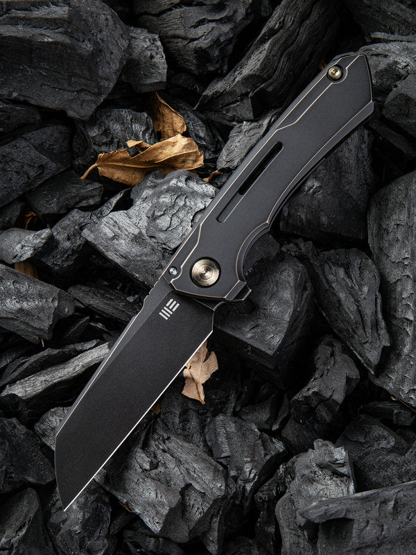 "WE Knife Snecx Mini Buster 3.43"" CPM 20CV Black Stonewash Bronze Titanium Folding Knife 2003B"