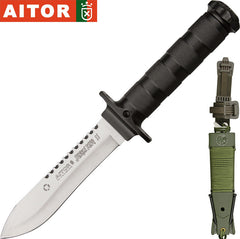 "Aitor Jungle King II 5.5"" Satin Fixed Blade Knife with Survival Kit 16012"