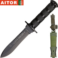"Aitor Jungle King II 5.5"" Black Fixed Blade Knife with Survival Kit 16013"