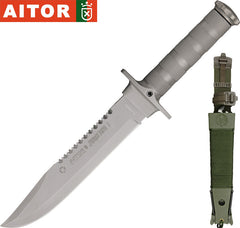 "Aitor Jungle King I 8"" Satin Fixed Blade Knife with Survival Kit 16015"