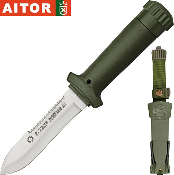 "Aitor Jungle King III 4.125"" Satin Fixed Blade Knife with Survival Kit 16017"