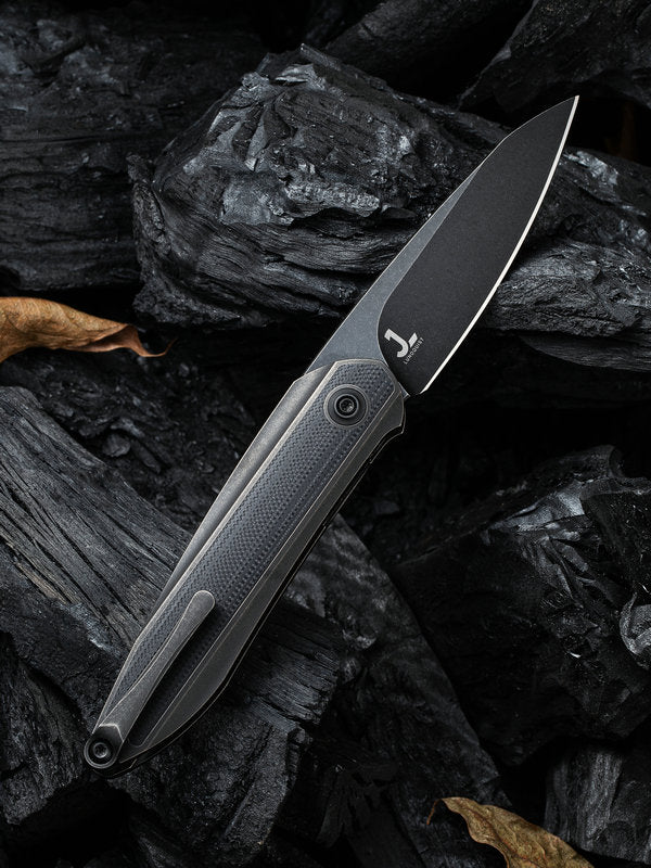"WE Knife Black Void Opus 2.84"" CPM 20CV Black Stonewashed Black Titanium G10 Folding Knife 2010D"