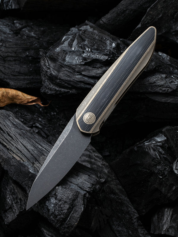 "WE Knife Black Void Opus 2.84"" CPM 20CV Black Stonewashed Bronze Titanium G10 Folding Knife 2010C"