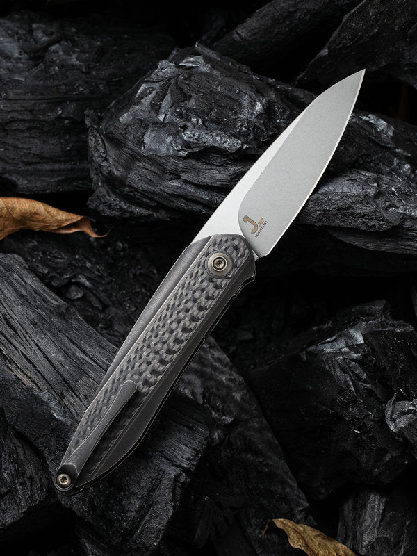 "WE Knife Black Void Opus 2.84"" CPM 20CV Black Titanium Carbon Fiber Folding Knife 2010B"