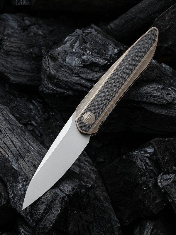 "WE Knife Black Void Opus 2.84"" CPM 20CV Bronze Titanium Carbon Fiber Folding Knife 2010A"