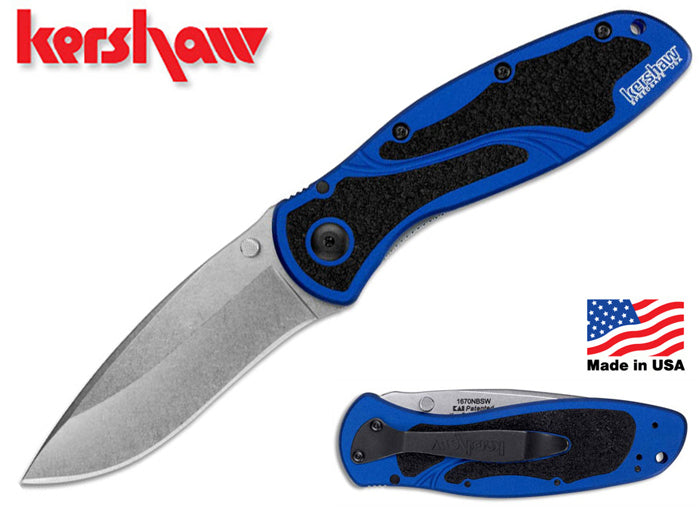 "Kershaw Blur 3.375"" Sandvik 14C28N Stonewashed Navy Blue A/O Folding Knife - Made in USA - 1670NBSW"