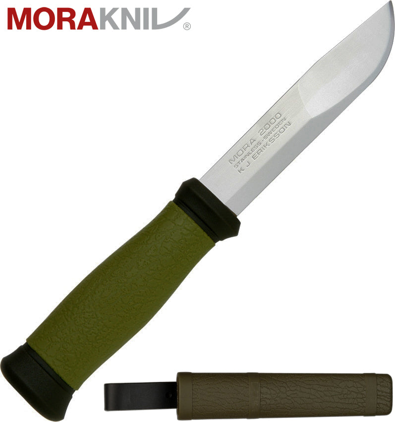 "Morakniv 2000 4.3"" Sandvik 12C27 Fixed Blade Knife with Rubber Handle 10629"
