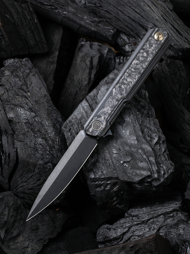 "WE Knife Peer 3.46"" CPM 20CV Shredded Carbon Fiber Black Titanium Folding Knife by Ostap Hel 2015D"