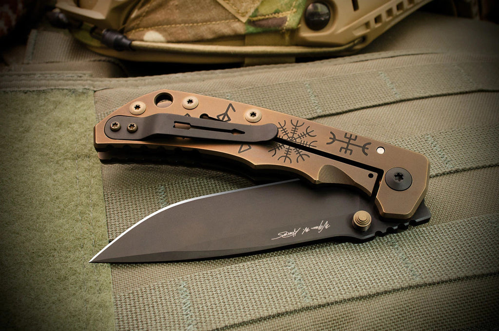 "Spartan Blades SHF Spartan-Harsey Folder 2020 Special Edition Runes and Staves 4"" CPM S45VN Titanium Folding Blade"