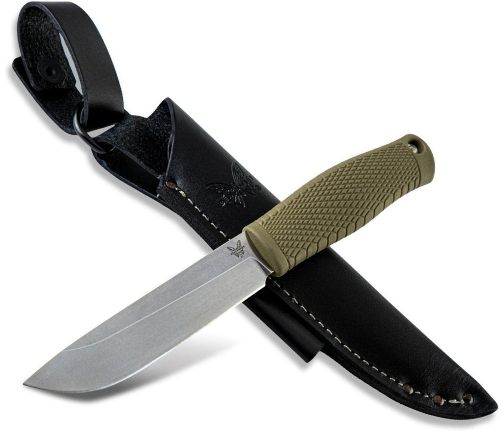 "Benchmade 202 Leuku 5.19"" CPM-3V Fixed Blade Knife with Santoprene Handle and Leather Sheath"