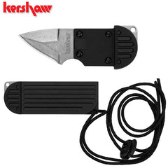 "Kershaw Al Mar AM-6 1.5"" Stonewashed Fixed Blade Neck Knife 2345"