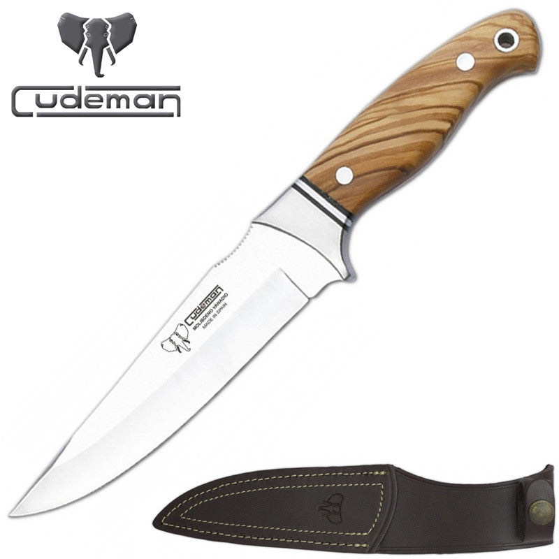 Cudeman 248-L Olive Wood Fixed Blade Knife with Leather Sheath