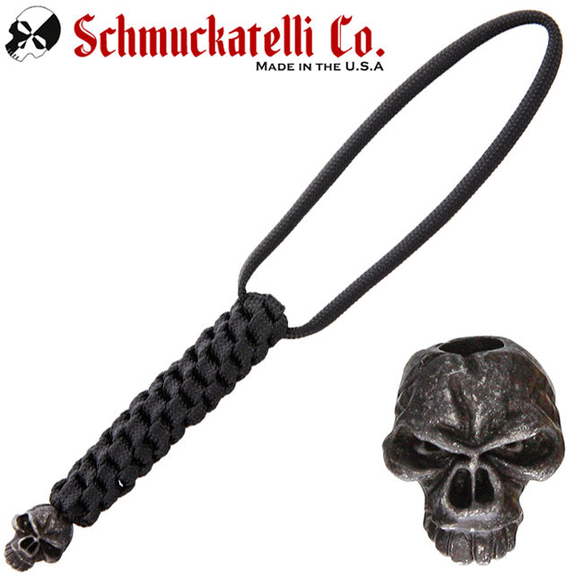 Schmuckatelli Emerson Skull Lanyard with Black Cord and Black Oxidized Pewter Bead