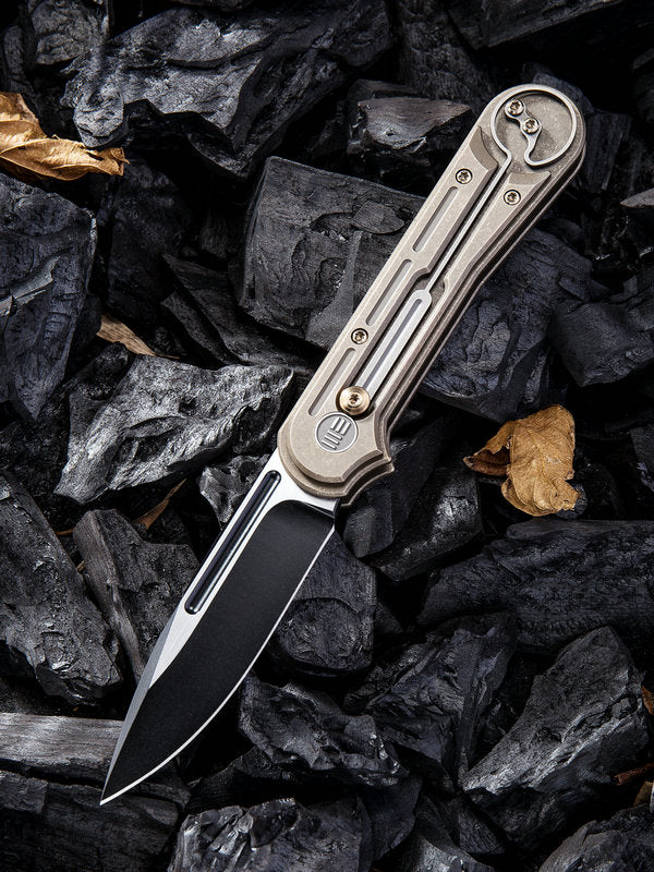 "WE Knife Double Helix 3.3"" Two-Tone CPM S35VN Slide-Lock Bronze Titanium Folding Knife 815A"