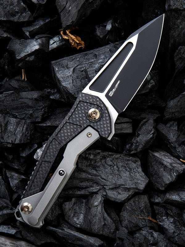 "WE Knife Limited Edition Mikkel Willumsen Sugga 3.55"" Black S35VN Titanium Carbon Fiber Folding Knife 915B"