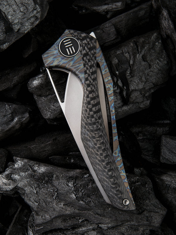 "WE Knife Elijah Isham ÆternA 3.28"" M390 Flamed Titanium Carbon Fiber Folding Knife 918B"
