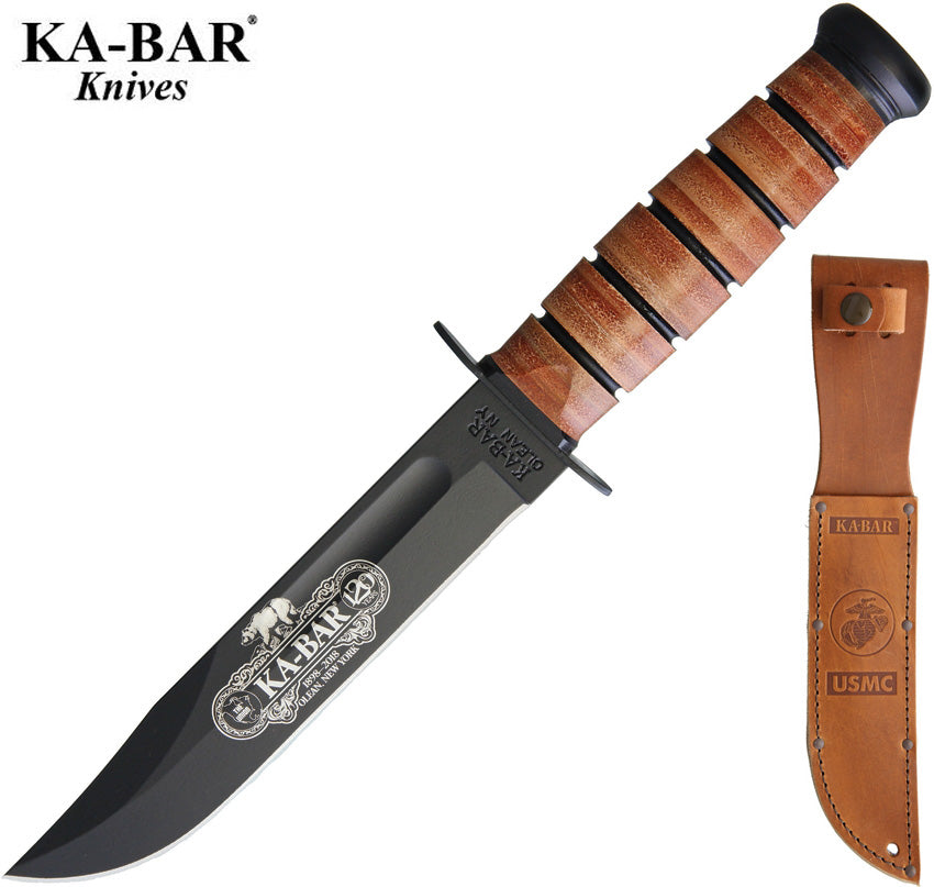 "KA-BAR USMC 7"" 120th Anniversary Commemorative Fighting Knife with Leather Sheath 9191"