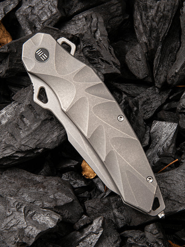 "WE Knife Hecate 3.81"" CPM 20CV Stonewashed Titanium Folding Knife by Alessandra De Santis 922A"