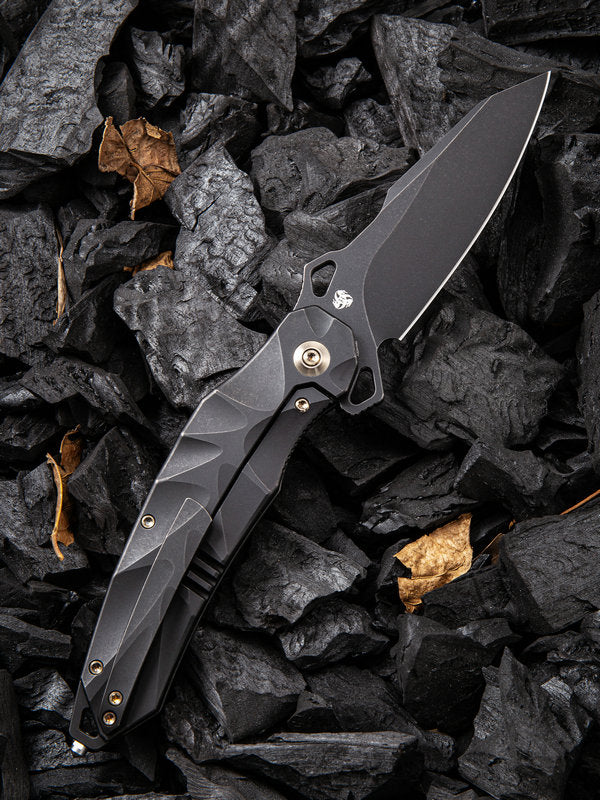 "WE Knife Hecate 3.81"" CPM 20CV Black Stonewashed Titanium Folding Knife by Alessandra De Santis 922B"