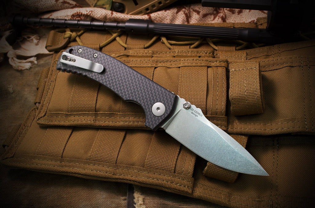 "Spartan Blades Astor 3.5"" CTS-XHP Carbon Fiber G10 Folding Knife - Les George Design"