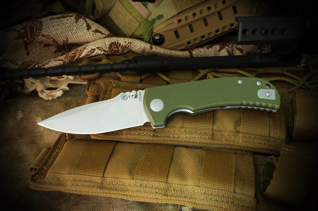 "Spartan Blades Astor 3.5"" CTS-XHP Green G10 Folding Knife - Les George Design"