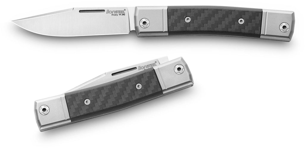"LionSteel BestMAN 2.8"" M390 Titanium Slipjoint Folding Knife with Carbon Fibre Handle BM1 CF"
