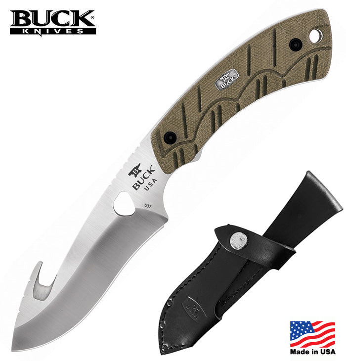 "Buck 537 Open Season Guthook 4.5"" S35VN Fixed Blade Knife with OD Green Micarta Handle"