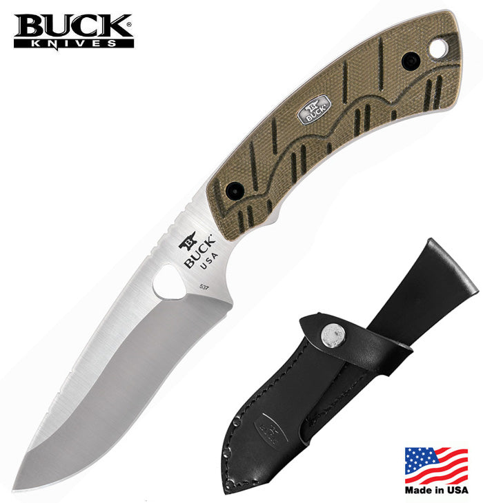 "Buck 537 Open Season Skinner 4.5"" S35VN Fixed Blade Knife with OD Green Micarta Handle"