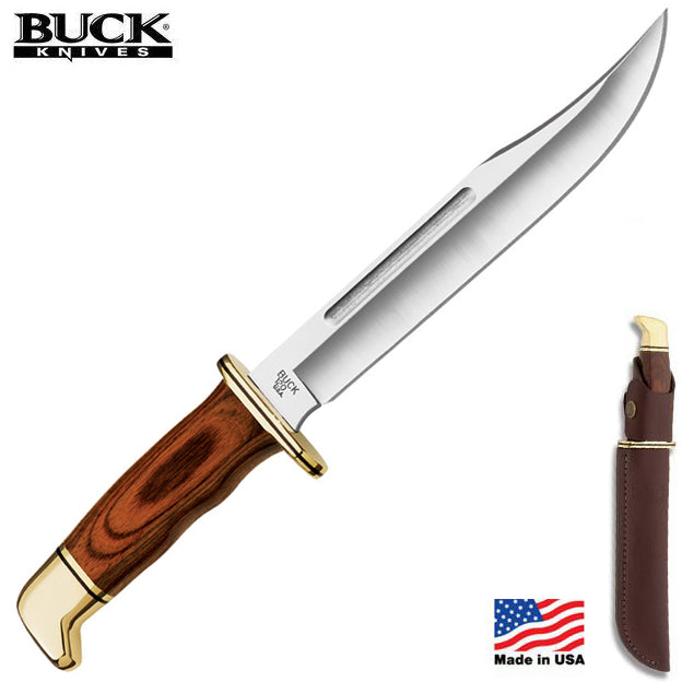 "Buck 120 General 7.38"" 420HC Cocobolo Dymondwood Fixed Blade Knife - Made in USA"