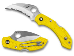 "Spyderco Dragonfly 2 Salt Yellow FRN 2.25"" H-1 Hawkbill Serrated Rustproof Folding Knife C28SYL2HB"