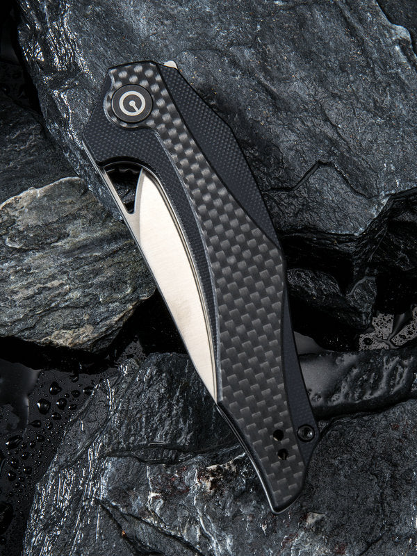 "Civivi (by WE Knife) Elijah Isham Plethiros 3.45"" D2 Black G10 Carbon Fiber Folding Knife C904C"