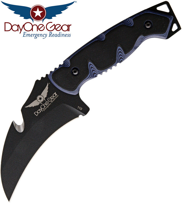 TOPS / Day One Gear C.U.M.A. Protector Fixed Blade Knife - Blue/Black G10 Handle with White Liners