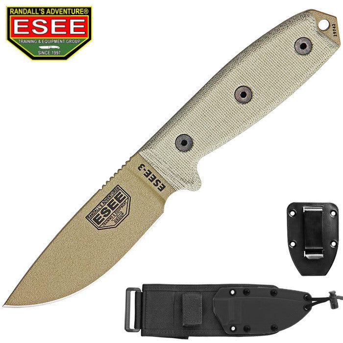 ESEE 3P-MB-DE Dark Earth Survival Knife with Black Sheath MOLLE back and Clip Plate
