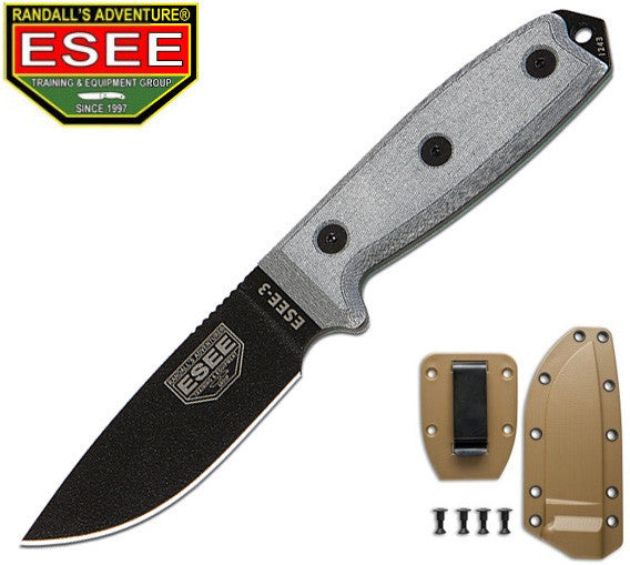 ESEE 3P Survival Knife with Coyote Brown Molded Sheath and Clip Plate