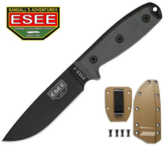 ESEE 4P Survival Knife with Coyote Brown Molded Sheath and Clip Plate
