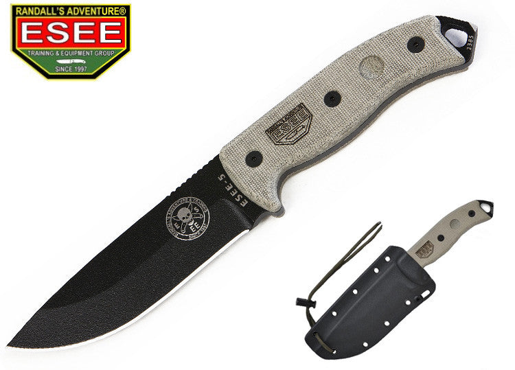 ESEE 5P Survival Tactical Knife with Kydex Sheath and Clip Plate