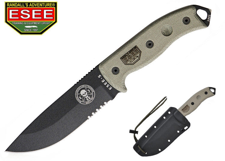 ESEE 5S Survival Tactical Knife part-serrated with Kydex Sheath and Clip Plate