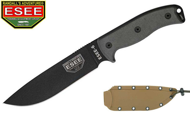 ESEE 6P Survival Knife with Coyote Brown Sheath and Clip Plate