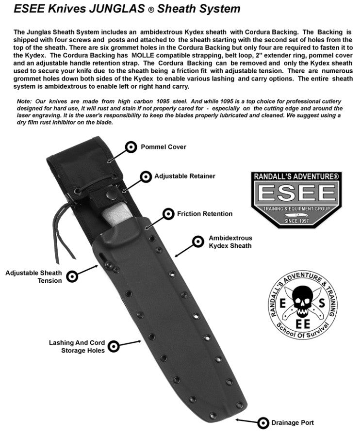 ESEE JUNGLAS-DE Dark Earth Survival Knife With Kydex Sheath and MOLLE Back
