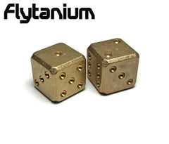 Flytanium Cuboid Large Brass D6 Dice Set (2) Stonewash Finish