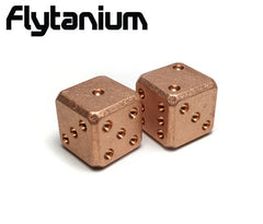 Flytanium Cuboid Large Copper D6 Dice Set (2) Stonewash Finish