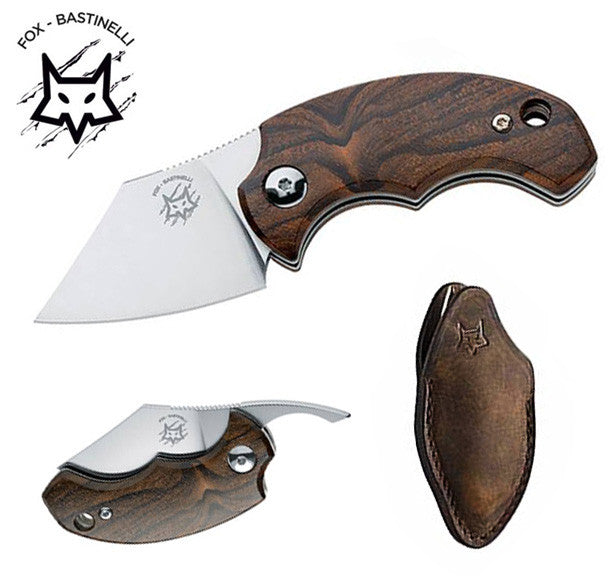"Fox Knives Bastinelli BB Drago 1.77"" N690Co Ziricote Friction Folder Knife with Leather Pouch FX-519ZW"