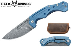 "Fox Desert Fox 3.74"" Damasteel Blue Titanium Folding Knife - Boris Manasherov Design FX-521DLB"