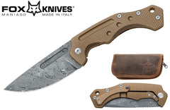 "Fox Desert Fox 3.74"" Damasteel Bronze Titanium Folding Knife - Boris Manasherov Design FX-521DRB"