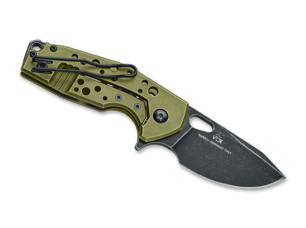 "Fox Suru 2.36"" N690Co Idroglider Stonewash Green Aluminium Folding Knife - Voxnaes Design FX-526 ALG"